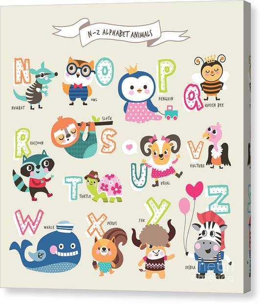 Yak Canvas Print - Cute Cartoon Animals Alphabet From N To by Littlewhale