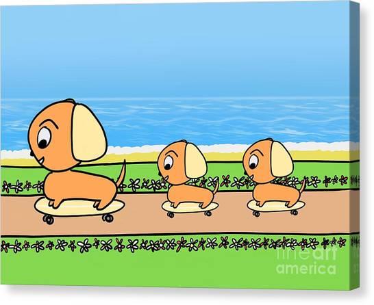 Cute Cartoon Dogs On Skateboards By The Beach Canvas Print