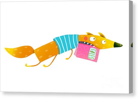 Fun Run Canvas Print - Cute Cartoon Fox Running With Fairy by Popmarleo