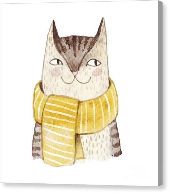 Card Canvas Print - Cute Cat In Scarf . Watercolor by Maria Sem