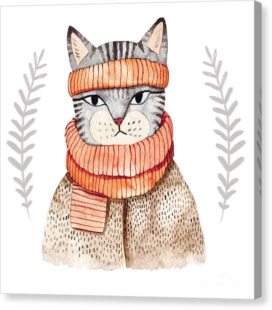 Winter Fun Canvas Print - Cute Cat In Scarf .illustration With by Maria Sem
