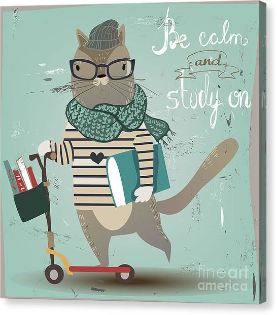 Student Canvas Print - Cute Cat On Scooter by Elena Barenbaum