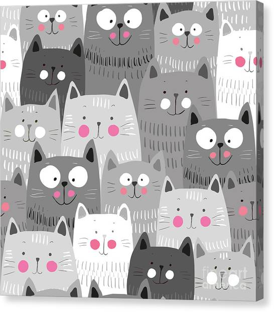 Grey Background Canvas Print - Cute Cats Colorful Seamless Pattern by Marianna Pashchuk