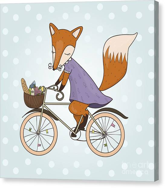 Basket Canvas Print - Cute Fox Riding On A Bicycle .bicycle by Maria Sem