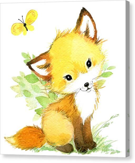 Woodland Canvas Print - Cute Fox. Watercolor Forest Animal by Faenkova Elena