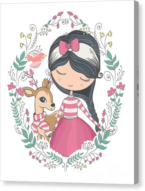 Happy Canvas Print - Cute Girl And Little Deer Vector Design by Studiolondon