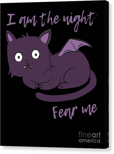 Cute Halloween Cat I Am The Night Fear Me Canvas Print