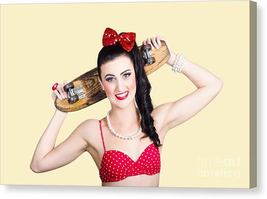 Skateboarding Canvas Print - Cute Pinup Skater Girl In Punk Glam Fashion by Jorgo Photography - Wall Art Gallery
