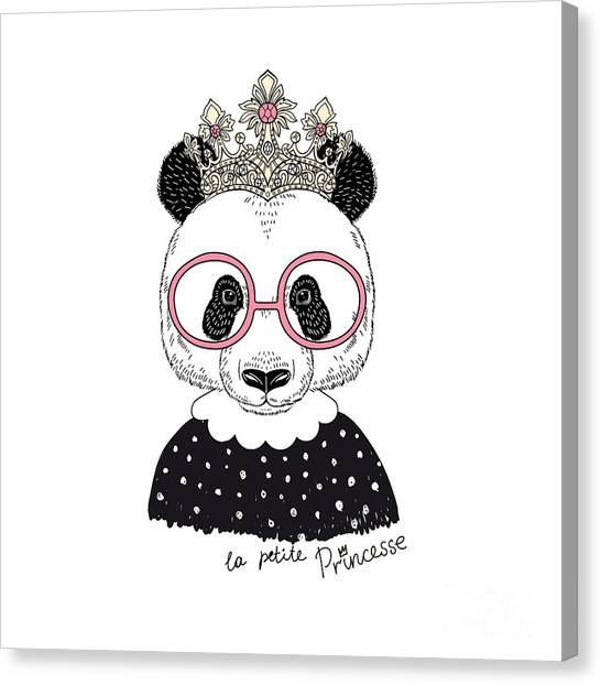 Cute Portrait Of Panda Princess, Hand Canvas Print by Olga angelloz