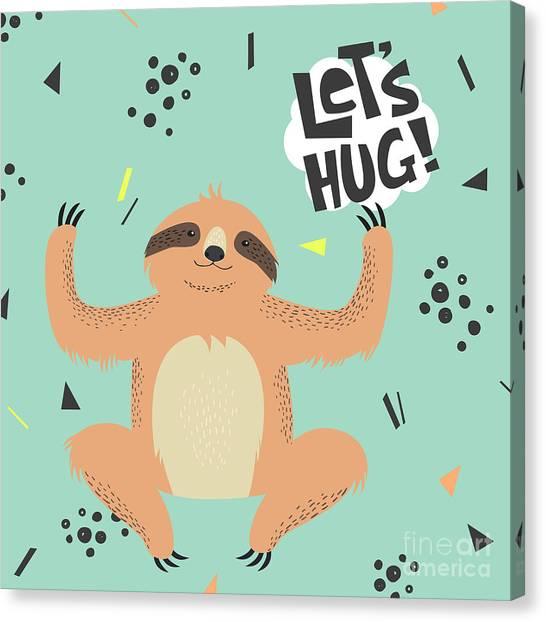 Card Canvas Print - Cute  Sloth Vector Illustration. Lets by Maria Sem