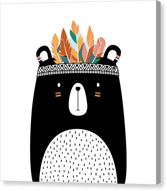 Cute Tribal Bear - Boho Chic Ethnic Nursery Art Poster Print Canvas Print