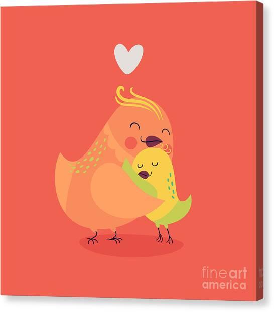 Cute Vector Cartoon Decorative Birds Canvas Print by Mascha Tace