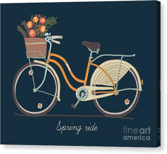 Basket Canvas Print - Cute Vector Retro Bicycle For Ladies by Mascha Tace