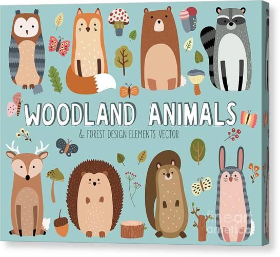 Woodland Canvas Print - Cute Woodland Animals And Forest Design by Mckenna71