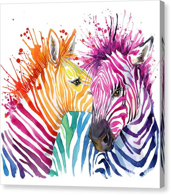 Cute Zebra. Watercolor Illustration Canvas Print by Faenkova Elena