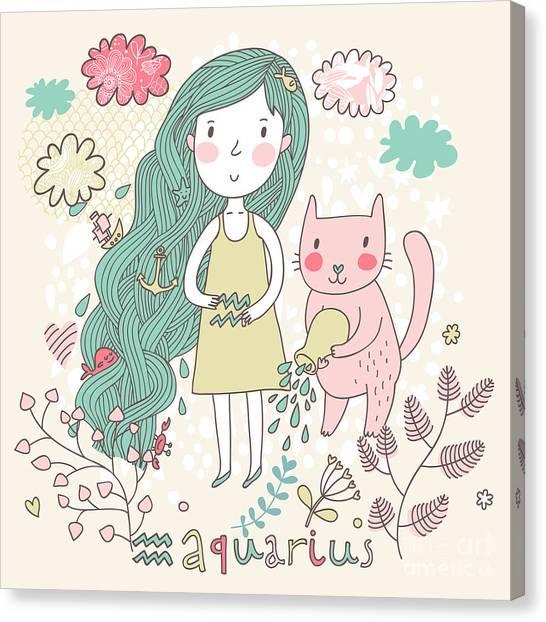 Fountain Canvas Print - Cute Zodiac Sign - Aquarius. Vector by Smilewithjul