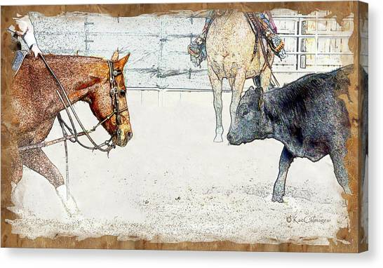 Cutting Horse At Work Canvas Print