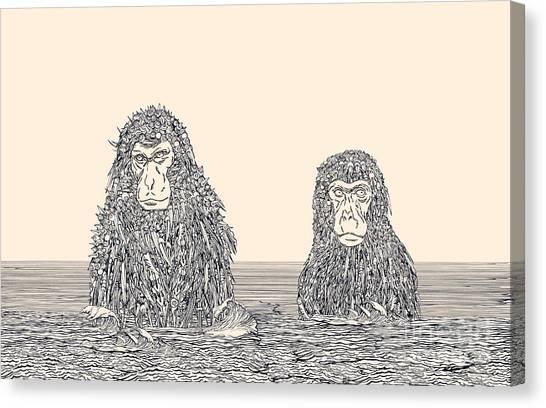 Meditate Canvas Print - Cyborg Monkey Meditation.two Monkeys In by Ryger