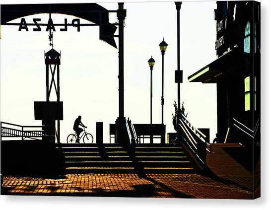 Cyclist At Sunrise, Ocean City Boardwalk Canvas Print