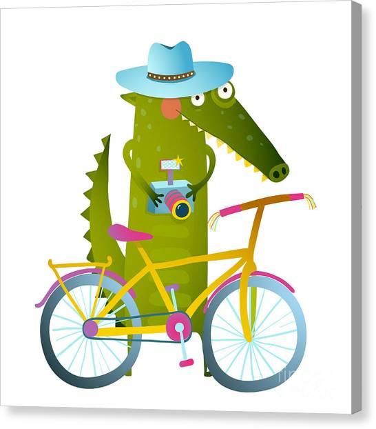 Biker Canvas Print - Cyclist Crocodile Tourist With Blue by Popmarleo