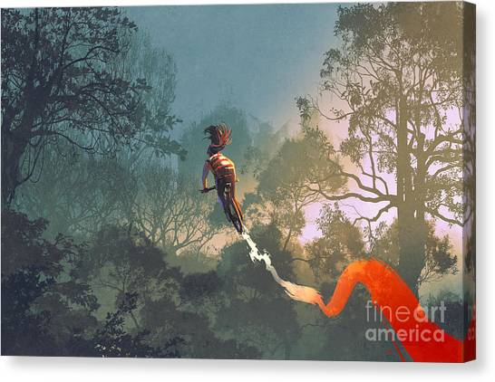 Cyclist Canvas Print - Cyclist Riding A Bike With Tire Track by Tithi Luadthong