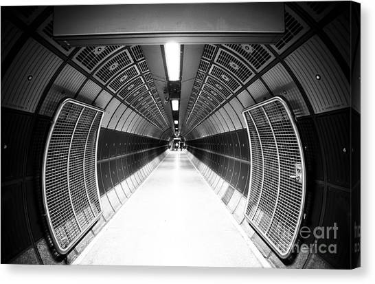 Indoors Canvas Print - Cylindric Tunnel For Pedestrians by Jose As Reyes