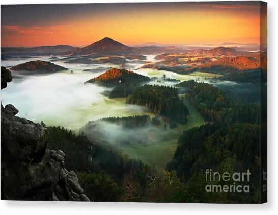 Woodland Canvas Print - Czech Typical Autumn Landscape. Hills by Ondrej Prosicky