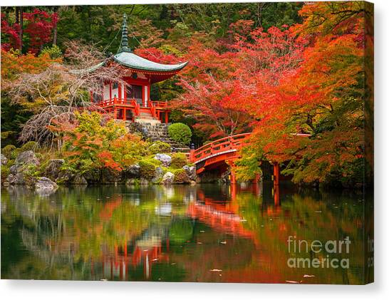 Japanese Gardens Canvas Print - Daigo-ji Temple With Colorful Maple by Patryk Kosmider