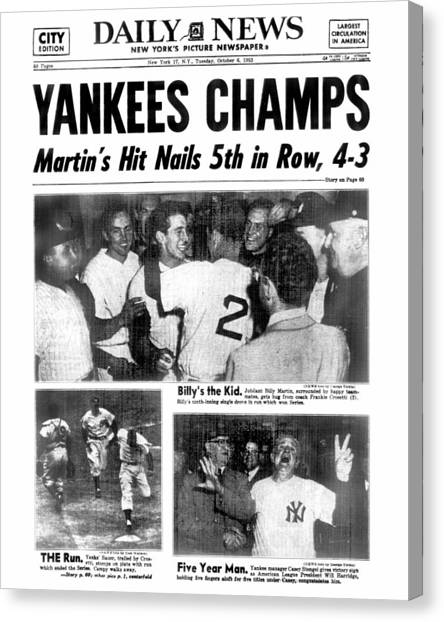 Daily News Back Page Dated Oct. 6, 1953 Canvas Print
