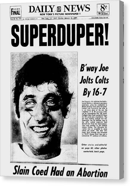 Daily News Front Page January 13, 1969 Canvas Print