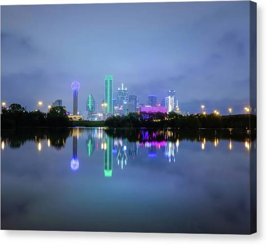 Canvas Print featuring the photograph Dallas Cityscape Reflection by Robert Bellomy