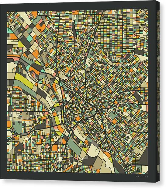Dallas Canvas Print - Dallas Map 2 by Jazzberry Blue