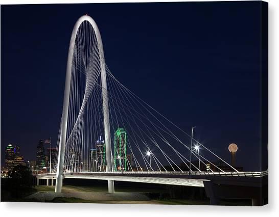 Dallas' Suspension Bridge At Night Canvas Print by Dhughes9