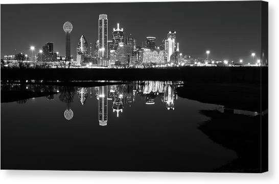 Canvas Print featuring the photograph Dallas Texas Cityscape Reflection by Robert Bellomy