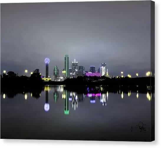 Canvas Print featuring the photograph Dallas Texas Cityscape River Reflection by Robert Bellomy