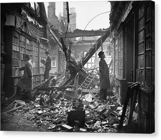 Damaged Library Canvas Print