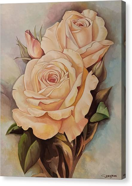 Damask Roses Canvas Print