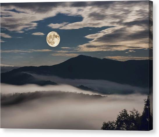 Dance Of Clouds And Moon Canvas Print
