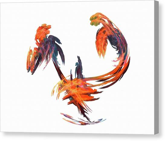 Dance Of The Birds Orange Canvas Print