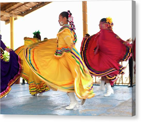 Buns Canvas Print - Dancers In Folkloric Costume Performing by Cosmo Condina
