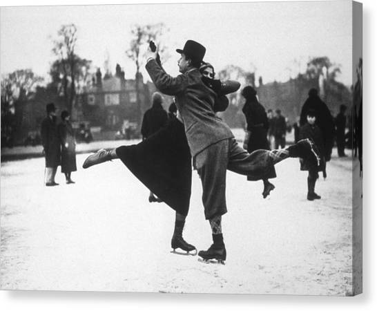 Dancing On Ice Canvas Print by H. F. Davis