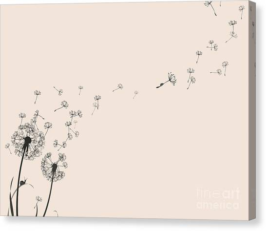 Botany Canvas Print - Dandelion Silhouette Snail And Ladybug by Eva mask
