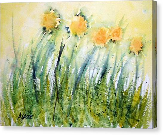 Dandelions In The Grass Canvas Print