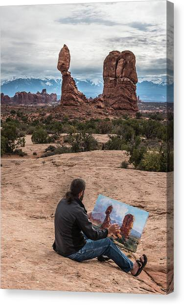 Daniel Paints Balanced Rock Canvas Print