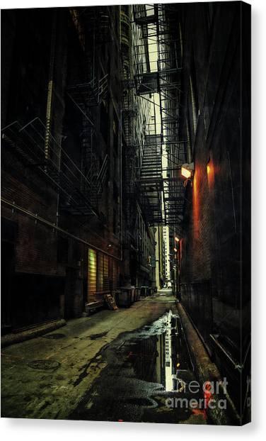 Brick House Canvas Print - Dark Chicago Alley by Bruno Passigatti