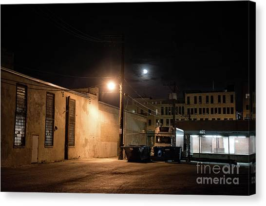 Old Truck Canvas Print - Dark Chicago City Alley At Night With The Moon by Bruno Passigatti