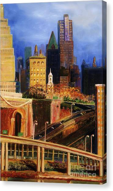 Dawn At City Hall Canvas Print