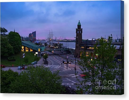 Dawn Over The Port And City Hamburg Panorama Canvas Print
