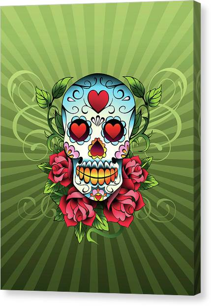 Day Of The Dead Skull Canvas Print by New Vision Technologies Inc