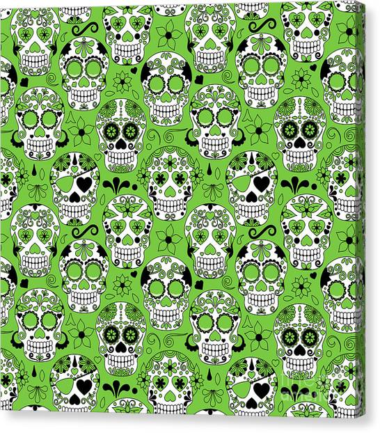 Day Of The Dead Sugar Skull Seamless Canvas Print by Pinkpueblo